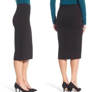 VINCE CAMUTO Ponte Midi Black Skirt